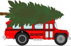 Bus and christmas tree Royalty Free Stock Photo