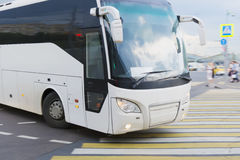 Bus at the city intersectio Stock Image
