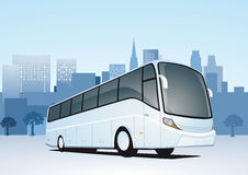 Bus and city skyline Royalty Free Stock Photo