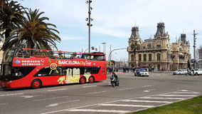 Double deck bus in Barcelona stock image