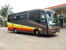Bus. coach. bus in a petrol station or filling station for fuel Royalty Free Stock Image