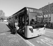 Bus in Como in black and white Royalty Free Stock Image