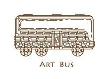 Bus con un modello, modello Fotografia Stock Libera da Diritti