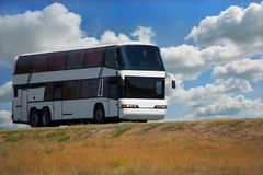 Bus on country highway Royalty Free Stock Photography