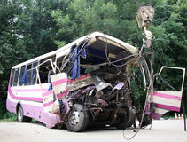 Bus crash Stock Photo