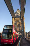 Bus Crossing Tower Bridge in London Royalty Free Stock Photos