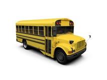 bus d'isolement au-dessus du jaune blanc d'école Photos stock