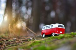 Bus in a deep forest travel Stock Image