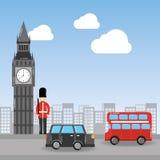 Bus del ponte del soldato di Big Ben di Londra e paesaggio urbano del taxi Fotografia Stock Libera da Diritti