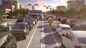 Bus della città del futuro L'ingorgo stradale Tempo di tramonto illustrazione 3D royalty illustrazione gratis
