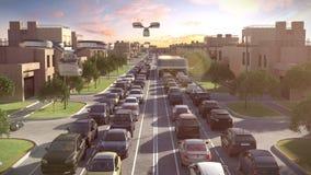 Bus della città del futuro L'ingorgo stradale Tempo di tramonto illustrazione 3D illustrazione vettoriale
