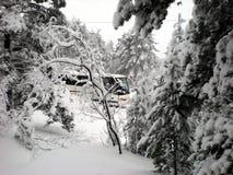 Bus, der Touristen im Winter transportiert Lizenzfreie Stockbilder