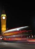 Bus di Londra alla notte Fotografie Stock Libere da Diritti