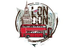 Bus di Londra, Big Ben Londra, Inghilterra Illustrazione di Stock