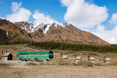 Bus di navetta verde del parco nazionale e della prerogativa di Denali Fotografia Stock Libera da Diritti