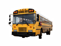 Bus di vecchia scuola isolato con il percorso di ritaglio Fotografie Stock Libere da Diritti