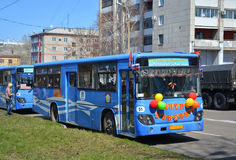 Bus, die naar komsomolsk-op-Amur reizen royalty-vrije stock foto's