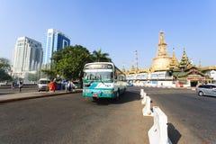 A bus in downtown Yangon, Myanmar Royalty Free Stock Photos