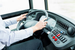 Bus driver in cockpit Royalty Free Stock Photo