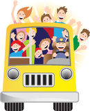 Bus Driver and Riders on Bus. People riding on a bus on a sunny day Stock Photos