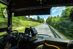 Bus driver`s point of view. From a bus driver`s point of view stock image