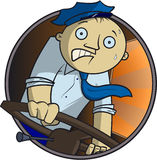 Bus driver. The scared bus driver turns the steering wheel Royalty Free Stock Image