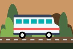 The bus drives on the road on a nature background vector illustration