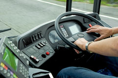 Bus Driving. Concentration while driving a bus at 50mph Royalty Free Stock Photos