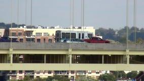 Bus driving on bridge over Ohio River to Kentucky  City of Cincinnati stock footage