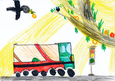 Bus driving on a road. child drawing Royalty Free Stock Images