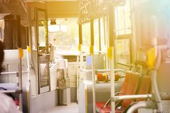 Bus empty seats interior with nobody inside - transportation con royalty free stock photo
