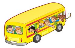 Bus en kinderen Royalty-vrije Stock Foto