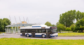 The bus end stop of city buses in Burgas, Bulgaria Royalty Free Stock Photography