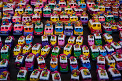 Bus figurines for sale at Chichicastenango market. In Guatemala Royalty Free Stock Images