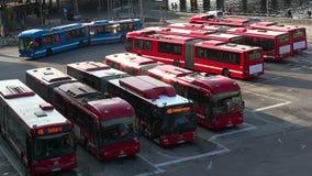 the bus fleet in stockholm sweden stock footage