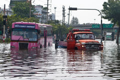 The bus on the flooding ,Bangkok Flooding Stock Image