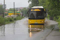 Bus in floods Royalty Free Stock Photography