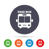 Bus free sign icon. Public transport symbol. Round colourful buttons with flat icons. Vector Stock Images