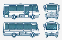 Bus front, side, back view line style Stock Photos