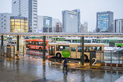 Bus in front of Toyama station in Japan Royalty Free Stock Images