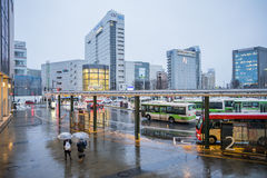 Bus in front of Toyama station in Japan Stock Photos