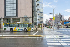 Bus in front of Toyama station in Japan Stock Photo