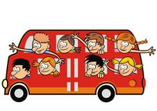Bus and funny kids. Royalty Free Stock Photo