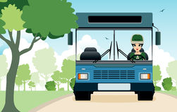 Bus in the garden Stock Photography