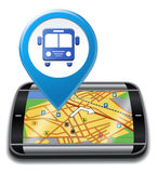 Bus Gps Means Public Transport And Buses Stock Photo