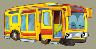 Bus heureux de bande dessinée Photographie stock libre de droits