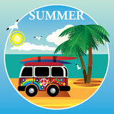 Bus hippies on the ocean and palm trees. Red Bus hippies on the ocean and palm trees Stock Photo