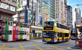 Bus on Hongkong commercial center street, 2016. A sight of Hongkong center area treet traffic, as buildings and bus, shown as city view and transportation, and Stock Photos