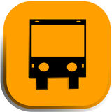 The bus icon, button. The bus icon on a yellow background stock illustration
