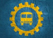 Bus icon in gear Stock Photos